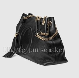 Wholesale Designer Leather Cowhide Handbags - Top Quality Designer Women Genuine Leather Cowhide Handbags Fashion Tassel Soho Shoulder Bag With Chain G 38cm or 26cm #308982