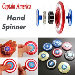 Wholesale Iron Man 12 - Creative Captain America Shield Hand Spinner Iron Man Fidget Alloy Puzzle Toys EDC Autism ADHD Finger Gyro Toy Adult Gifts Free Shipping