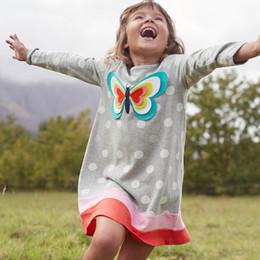 Vêtements en coton à manches longues pour enfants en Ligne-Unicorn Party Girl Spring Dress Animal Appliqued 100% coton enfants robe à manches longues pour vêtements de bébé