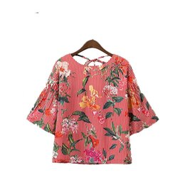 Wholesale Ladies Three Quarter Sleeve Blouses - women sweet floral striped shirts backless bow tie blouses three quarter sleeve ladies summer casual tops blusas