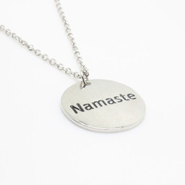 "Wholesale namaste necklace - Hot sale 12pcs 1pcs  NEW arrival Fashion necklace ""Namaste"" Charm pendant necklace for Women Men's jewelry gift"