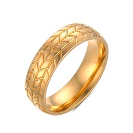 Wholesale Gold Vein - 6MM Men's Tire Veins Ring Vintage Stainless steel Wedding Rings For Male Engagement Band Jewelry Car Fans Love R-232