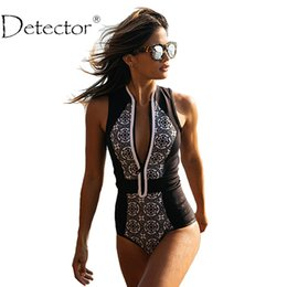 Wholesale Animal Print Monokini Swimwear - Wholesale- Detector Sexy Women One Piece Swimsuit Vintage Print Zipper Front Plus Size Swimwear Brazilian Bathing Suit Beach Wear Monokini