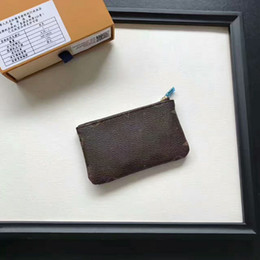 Argentina Diseñador de moda Embrague Mujeres hombres Marca Key Pouch Zip Coin Monedero de cuero genuino de la PU Monedero corto con caja 62650 Envío gratis Suministro
