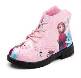 Wholesale Child Cartoon Boot - High quality fashion New Children Boots Girls Kids Shoes Sneakers Cartoon Queen Princess Girls Shoes Children Snow Boots Kids Anna Boots 26-