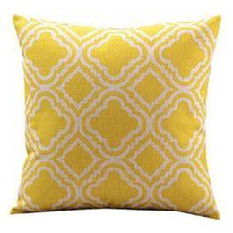 Wholesale Wholesale Geometric Pillow Cushion - Geometric Pattern Cushion Cover Square Linen Pillowcases Sofa Decorative Decoration Pillow Case Gift Christmas Pillows Cases Covers