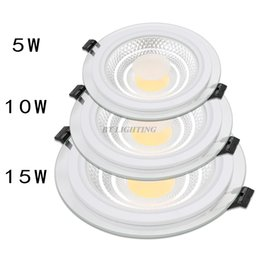 Wholesale Led Downlight Cover - Wholesale- 110V 220V glass cover decoration ceiling lamps for home lighting 5W 7W 10W 15W 25W 30W round recessed cob dimmable led downlight