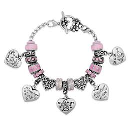 Wholesale Drilling Bracelet - Stainless Steel Mixed Beads Forever Love Mum Best Sister Nana Honey Heart Pendent Pink Crystal Spot Drill Flower OT Clasp Bracelets