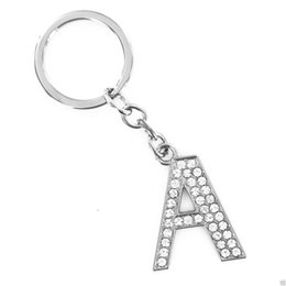 Wholesale Key Chains For Cars - KEYRING Initial 26 Alphabet 26 English Letters Keychain Pendant For DIY Decoration - Alloy Crystal Key Chain Ring Holder