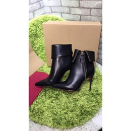 Wholesale Cheap Red Heels For Women - Cheap Wholesale Paris Winter Boots Women Short Boots High-heeled Genuine Leather Zipper Black Gold Luxurious Brand Boots with Box For Party