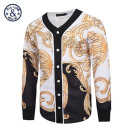 Canada Gros-Mr.BaoLongMiss.GO Hommes Chemise Or 3D Imprimer À Manches Longues Chemise Fantaisie Hommes Casual Floral Dress Chemises Noble Royal Grand Vêtements supplier wholesale fancy dress clothing Offre