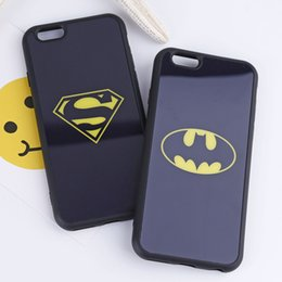 Wholesale Marvel Cute - Cute Black superman Batman Marvel Cartoon Mirror Soft Phone Case Coque Fundas Cover For iPhone 6 6S 6Plus 7 7Plus 5 5S SE