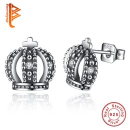 Wholesale Earring Tibetan Silver - BELAWANG Wholesale Authentic Tibetan Silver Plated Royal Crown Stud Earrings For Women Clear CZ Compatible with Original Jewelry Wedding