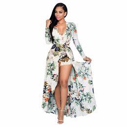 e31fadfde3f Wholesale- 2017 Women Long Floral Beach Jumpsuit Long Sleeve V-neck Sexy  Bodysuit Fashion Chiffon Romper Combinaison Femme Plus Size plus size  jumpsuits on ...