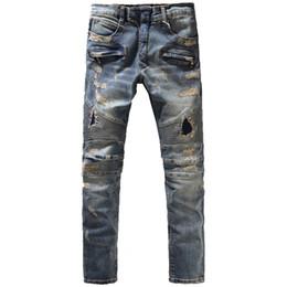 Wholesale trousers patch - Wholesale-Men's fashion vintage hole ripped biker jeans Male casual slim patch high quality denim pants Long trousers