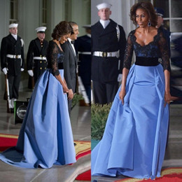 Wholesale Michelle Obama Fashion - 2017 Michelle Obama Sexy V Neck Lace Applique Formal Evening Dresses Black Sequined Women Gowns With Half Sleeves Red Carpet Dress