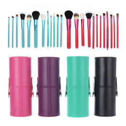 Wholesale Brushes Cup Holder - 12pcs lot Makeup Tools Brushes Fashional Cosmetic Brush set kits Tool 5 Colors Facial Make up brushes with Cup Holder Case ZA2032
