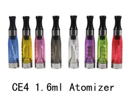 Wholesale E Vapor Wicks - CE4 Atomizer eGo Clearomizer 1.6ml 2.4ohm vapor tank Electronic Cigarette for e-cig battery 8 colors 4 wick