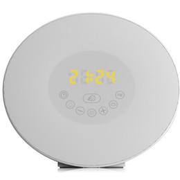 Wholesale Led Alarm Clock Radio - Wholesale- Creative RGB Sunrise Simulation Alarm Clock Light Touch induction Digital Wake Up LED Lamp with FM Radio & Snooze Function New