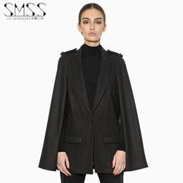 Wholesale Type Women Blazer - European and American models fall shoulder button suit collar cloak type woolen coat pocket cape blazer black color big size