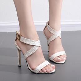 Wholesale Women High Heels Snake Sandals - European and American fan shaped skinny feet, snake heels, high heels and sandals