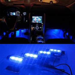 Wholesale Interior Foot Light Car - 4x 3LED Blue Car Charge interior accessories foot car decorative 4in1 lights Car Interior Decoration Light