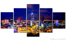 Wholesale Arts Architecture - YIJIAHE Abstract Print Canvas Painting Architecture Night Scene 5 Piece Canvas Art Wall Pictures For Living Room Large Wall Art A1 Framed