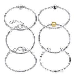 Wholesale Pandora Style Chains - Wholesale 8 Styles 925 silver LOVE snake chain fit pandora bracelet European charm beads women bracelet bangles Pulseras Lobster