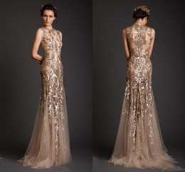 Wholesale Long Sleeve Gold Lace Dress - Krikor Jabotian Evening Dresses 2017 Gold Mermaid Shape Tulle Sheer See Through Appliques Prom Dress Emboridery Long Formal Dubai Gowns