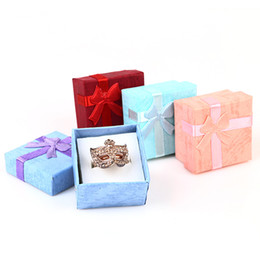 Wholesale Wholesale Cardboard Gift Tags - 10pcs lot 4*4*2.6CM Jewelry Sets Display Box Cardboard Necklace Earrings Ring Box Packaging Gift Box with Sponge & Satin Ribbon