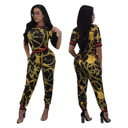 Wholesale Velour Tracksuit Women - 2017 spring summer women Suit sets printed tops + pants fashion two piece Pant set women clothes high waist women Sporting Suit tracksuits