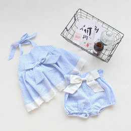Wholesale Halter Bowknot - 2017 Childrens Summer Striped Outfits Baby Girls Lace Bow Halter Tops with Striped Bowknot Short Pants bebe clothing