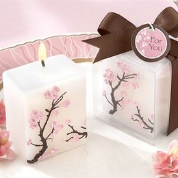 Wholesale Souvenirs For Birthdays - Cherry Blossoms Candle For Wedding Party Baby Shower Birthday Souvenirs Gifts Favor Christmas Gifts Mini Pillar Sixteen Candle Favors