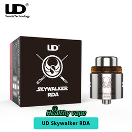 Tapa de goteo de metal online-UD original Skywalker RDA Atomizador Youde 24 mm Diámetro 2 postes Delrin Drip Tip E tanque de vaporizador de cigarrillos PEI resistencia al calor Top Cap