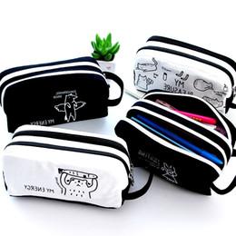 Wholesale Layer School Bags - Wholesale-Large Capacity Pencil Case Cavans Pencil Bag Double-layer Pencil Box Student Pen Case School Supplies for Boy Girl