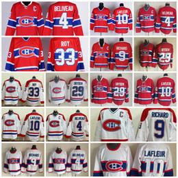Wholesale Ken Dryden Jersey - Throwback Montreal Canadiens Jersey 9 Maur Richard 4 Jean Beliveau 10 Guy Lafleur 33 Patrick Roy 29 Ken Dryden Vintage Classic Hockey Jersey