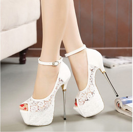 Wholesale Ankle Lace Up Ballet Flats - Bridal White Lace Wedding Shoes Designer Shoes Ankle Strap 16CM Sexy Super High Heels prom dress shoes