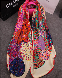 free shipping winter silks Coupons - Wholesale-1 PC 130*130cm Big size New Arrival Winter Square Scarf Brand Design Cotton Shawl Tassel Silk Scarfs Free Shipping S2002