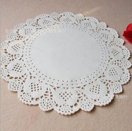 Wholesale Lace Paper Bags - Wholesale- Free shipping 11.5 inches 290mm Vintage napkin Hollowed Lace Paper mat Crafts paper Doilies Wedding Decoration(200pcs bag)
