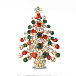 Wholesale Studded Clothes - 2017 new high-grade clothing green alloy diamond-studded color Christmas tree brooch pin