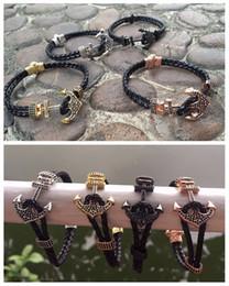 Wholesale Silver Pave Bar - Beichong Atolyestone Men Anchor Bracelet & Bangle Anil Arjandas Jewelry Black Micro Pave CZ Bead Leather Cuff Bracelet Pulseira Masculina