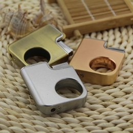 Wholesale Thin Flame Lighter - Wholesale- The Lord of the rings Grinding wheel lighter Gas refillable Ultra thin H310 windproof cigarette lighter Portable Flame