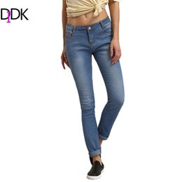 Wholesale Fitness Cuffs - Wholesale- Womens Fitness Clothes 2016 Women Summer Trousers Ladies Casual Blue High Waist Button Fly Long Denim Skinny Pants