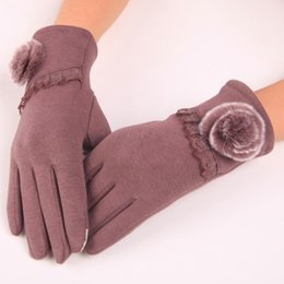 Wholesale Winter Warm Touch Screen Gloves For Women Ladies Biking Cotton Pom Pom Bowknot Floral Mittens Gift