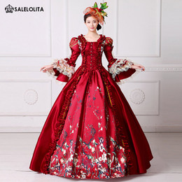 Wholesale Marie S - 2017 Brand New Red Lace Printed Marie Antoinette Dress Southern Belle Victorian Period Ball Gown Reenactment Women Clothing