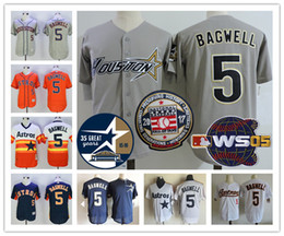 Wholesale Rainbow Jersey - Houston Astros #5 Jeff Bagwell Hall Of Fame 2005 World Series gray white Astrodome pinstripe orange rainbow Red throwback Stitched Jerseys