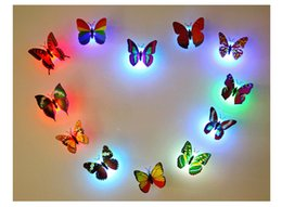 Wholesale Animal Night Lights Kids - LED Butterfly Wall Sticker Hangings 3D Wall Decros Party Decoration Halloween Christmas Ornaments Night Lights Decor