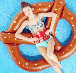 Wholesale Swimming Float Seat - Giant Pretzel Swim Fun Inflatable Floating Seat Inflatable Swimming Pool Floats Summer Party Toys for Adults Immediately Delivery