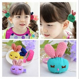 Wholesale Hair Accessories Jewels - Hot sale ! Wholesale children cute hair clips hand making lovely cartoon rabbit hair loops barrettes accessory jewel 30pcs lot