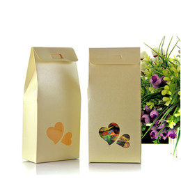 Wholesale Packing Nuts - 11*23+5cm Kraft Paper Box With Clear Heart Window Wedding Favor Candy Gift Packing Bag Box Food Chocolate Nuts Storage Packaging